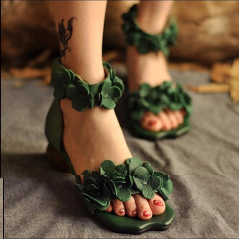 Fleur Chaussures Femmes Tendance Talons Ouvert National En Vintage Cuir Sandales Épais Green Bout 21915l De Véritable Main Fait 7Z0P0H8
