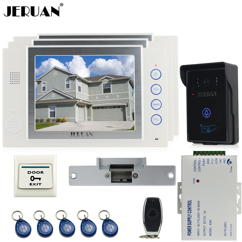 JERUAN three desk 8`` luxury LCD video door phone doorbell intercom system 700TVL Camera video recording+Cathode lock+8GB card new queen size bed white thickening folding luxury duck down mattress topper 100% cotton shell 95% duck down filling quilted