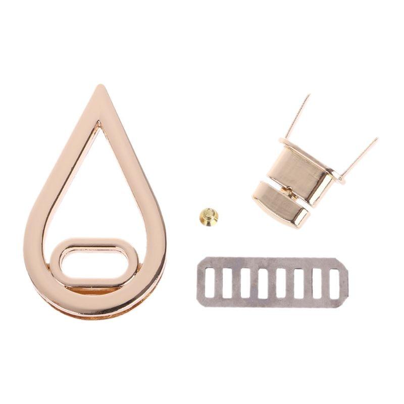 :3.3x5.7cm Water Drop Shape Clasp Turn Lock Twist Locks DIY Leather Handbag Bag Hardware Gold