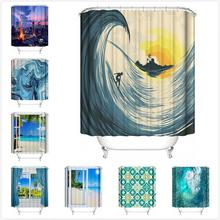 Shower Curtain 180x180CM  New Waterproof City night scene Beach Geometric style printing Polyester Bathroom curtains