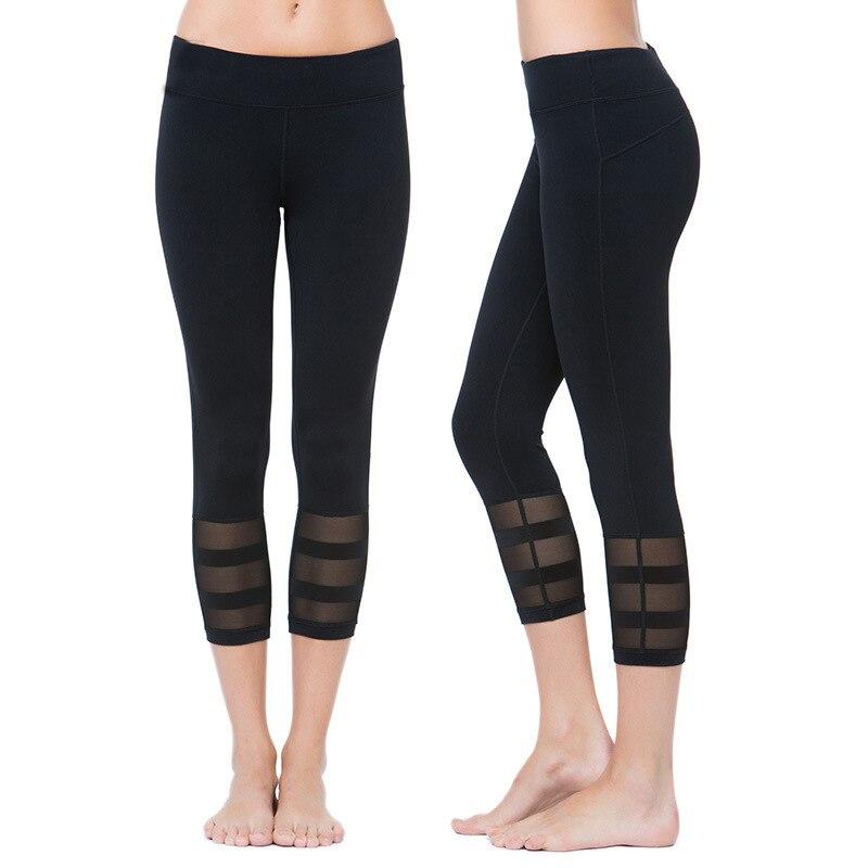 Prix pour 2016 Nouveau Sexy Maille Couture De Yoga Pantalon Femmes Workout Collants Gym Fitness Sport Leggings Élastique Mèche 3/4 de Course Pantalon Capri