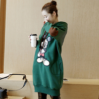 Autumn Winter Maternity Clothes Plus Velvet Thickening Hoodies Fashion Pregnant Women Large Size Cartoon Pregnancy Dresses