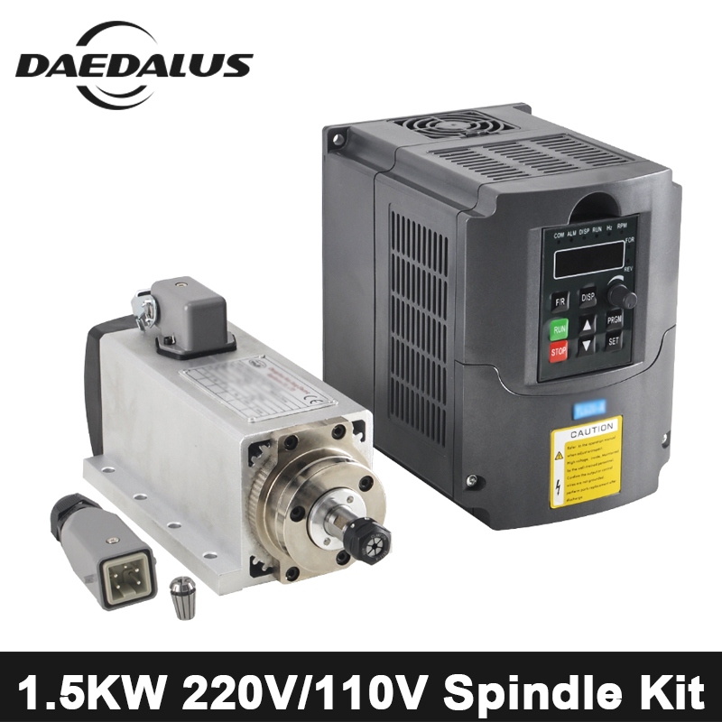 1.5KW CNC Spindle Motor ER11 Air Cooled Spindle Router Machine Tools Spindle + 220V/110V FVD Inverter For CNC Engraving Machine цена