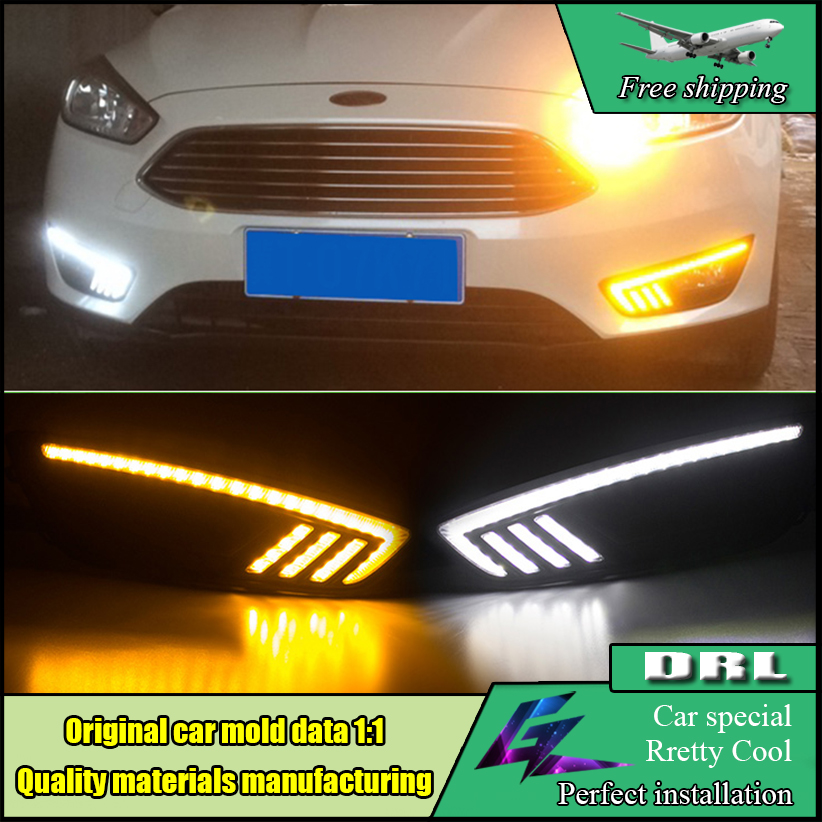 Car Styling DRL Lamp LED Daytime Running Light With Yellow Turn Signal Function ABS Cover For Ford Focus 2015 2016 LED Daylights 2x led daytime running lights daylight turn signal drl lamp car styling light for ford ranger px mk2 2015 2016 2017 2018