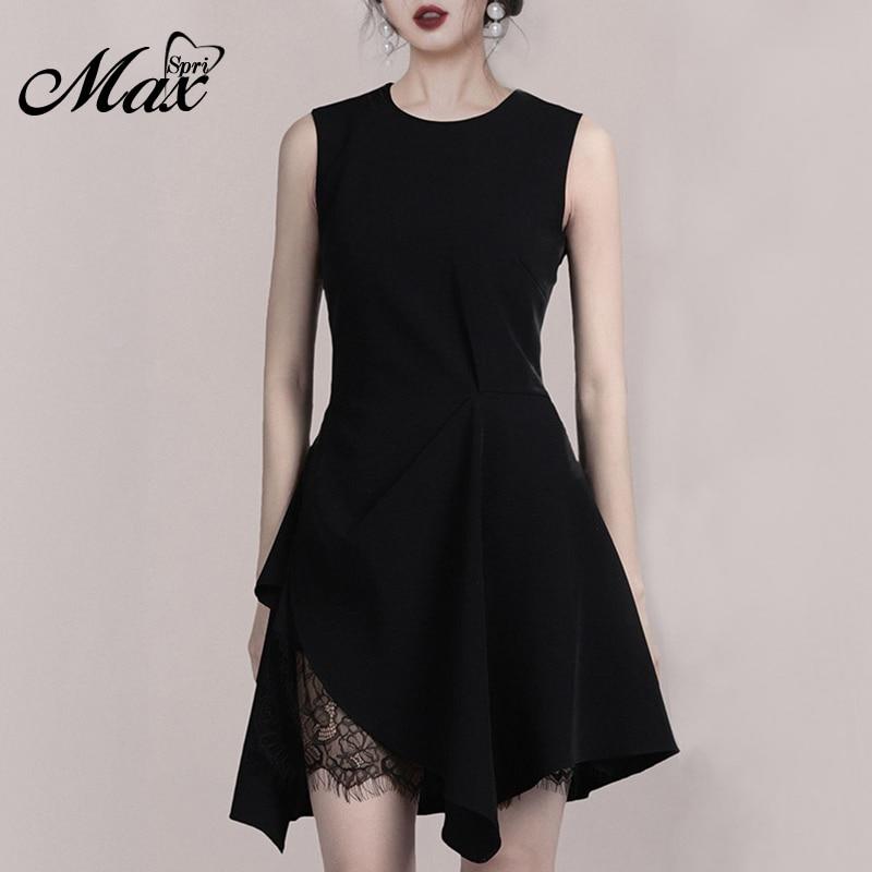 Max Spri 2019 été nouvelle mode bureau dame O cou sans manches une ligne petite robe noire femmes partie irrégulière Mini robe