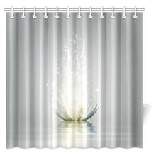 Aplysia Lotus Flower With Ornaments Ethnic Exotic Petals Mehndi Traditional Boho Design Fabric Bathroom Shower Curtains