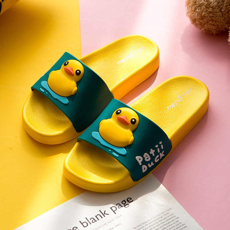 cute slippers shoes women slides sandals 2019 New Summer Yellow Duck cartoon anti-skid wear-resistant bathroom cat lovers
