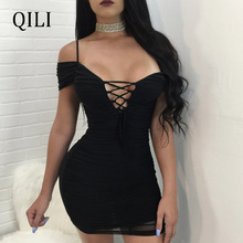 QILI Sexy Off Shoulder Lace UP Mini Dress For Women V Neck Pleated Bandage Dresses Party Club Sold Wine-red Black Blue