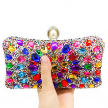Multi Color Crystal Women Pearl Beaded Black Evening Metal Clutches Bag (3 colors)