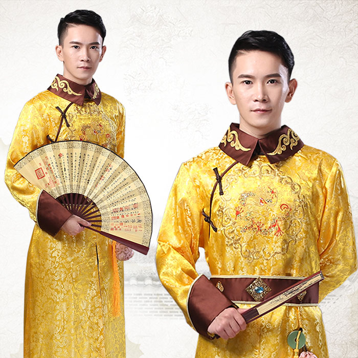 Halloween Christmas Cosplay Costume China Ancient Qing Dynasty Emperor Manchu Traditional Clothes Long Gown Robe TV Film Drama