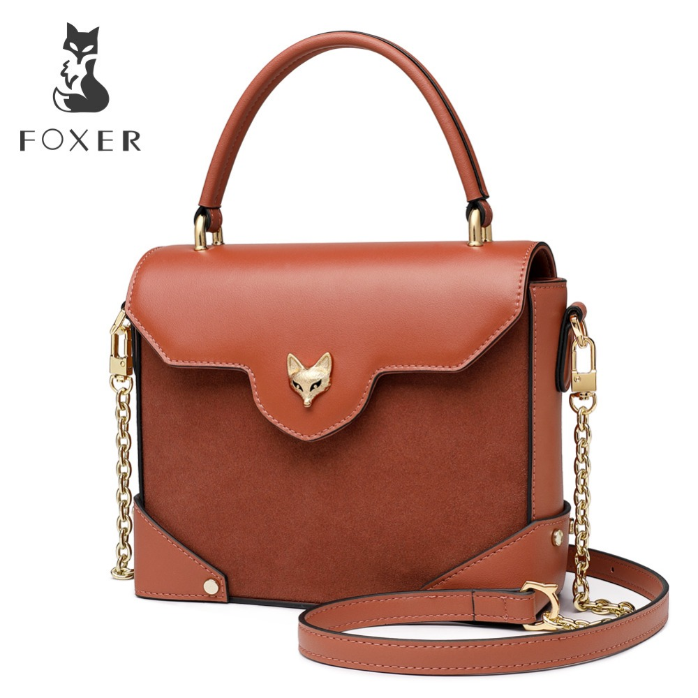 FOXER Brand 2019 Lady Retro Box Type Khaki Flap Tote & Shoulder Bags Women Cow Split Leather Bag Cute & Vogue Design for GirlFOXER Brand 2019 Lady Retro Box Type Khaki Flap Tote & Shoulder Bags Women Cow Split Leather Bag Cute & Vogue Design for Girl