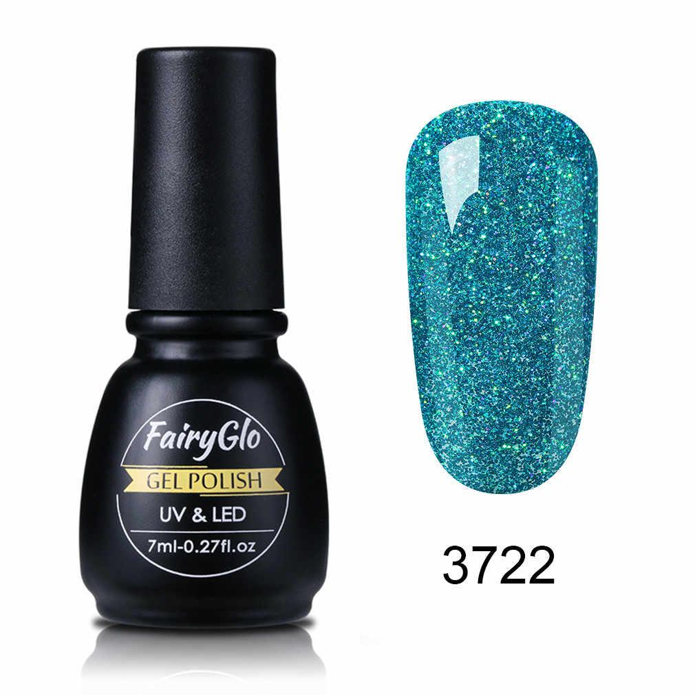 FairyGlo ネイルジェル 7 ミリリットルネオン紫外線 LED ジェルネイルポリッシュ長期的なブリンブリンスタンプゲルワニスラッカージェルネイル絵画接着剤