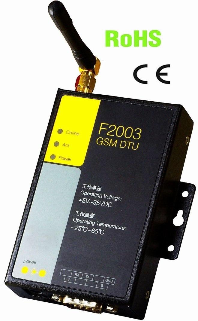 Prise en charge de la transmission de données SMS transparente F2003 RS232 RS485 GSM MODEM DTU pour PLC
