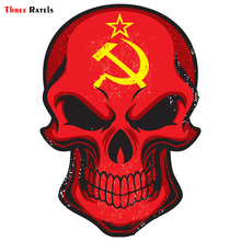 Three Ratels TRL190 #11x15cm funny car stickers Skull hammer and sickle colorful  decals