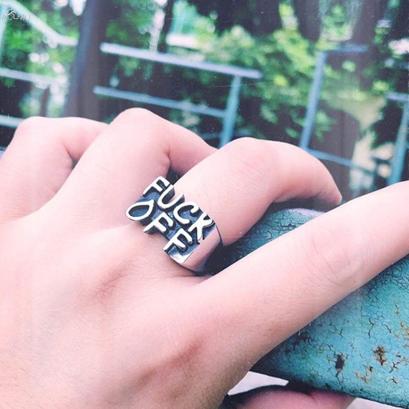 AOMU Punk Rings Statement Ring Men Creative Letter Party Alloy Ring Jewelry Set