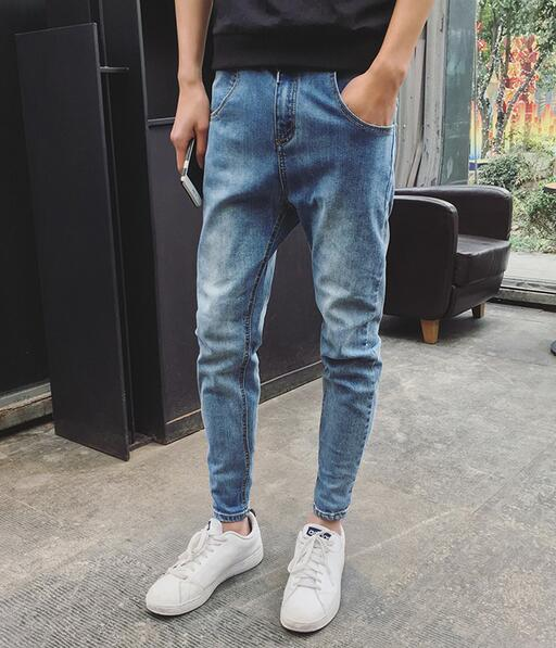 2016 Winter New arrival Teenage Mens Fashion back zipper decorate slim skinny jeans casual harem pants Elastic waist Restro