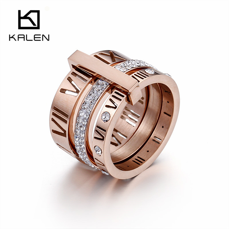 2018 Hot Sale Anillos Kalen Ladies Delicate Finger Knuckle Rings Rose Color Three Layers Roman Numerals & Rhinestone Jewelry