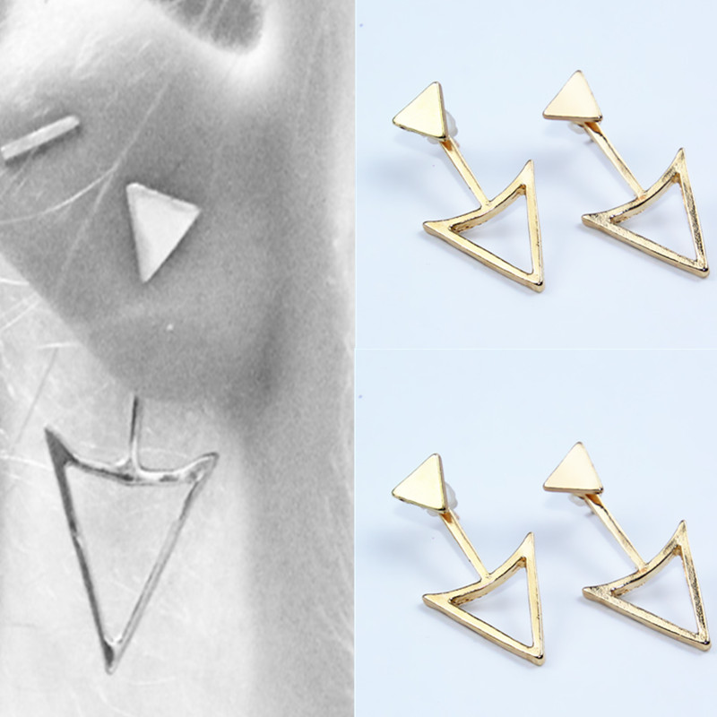 Newest Fashion jewelry double Triangle stud earrings best gift for women girl wholesale e0143