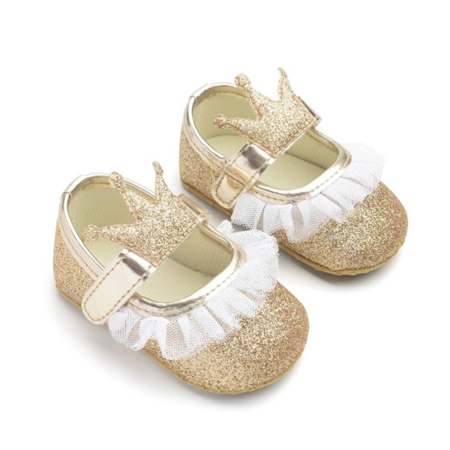 2019 Fashion Princess Baby Girls Shoes Crown Shaped Newborn Infant Toddler Soft Bottom First Walker  5