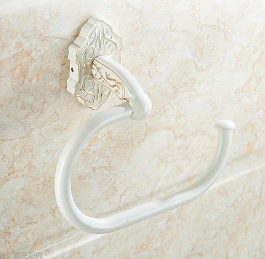 ФОТО High Quality Bathroom Accessories, Classic White Finish Towel Ring Holder&Towel Bar/ European-style Creative Design
