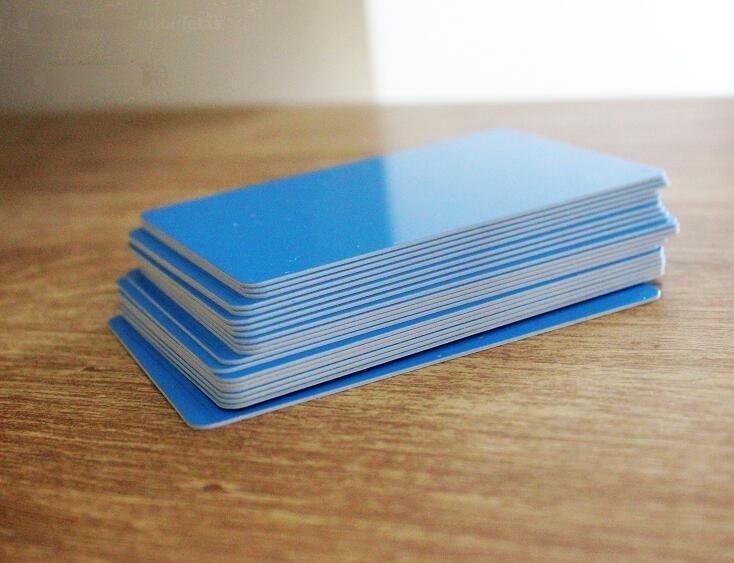 0.7mm Small Glossy Blue Color PVC Card Plain Rigid Plastic Blank ID Cards 85*54mm 10/50/100pcs You Choose Quantity
