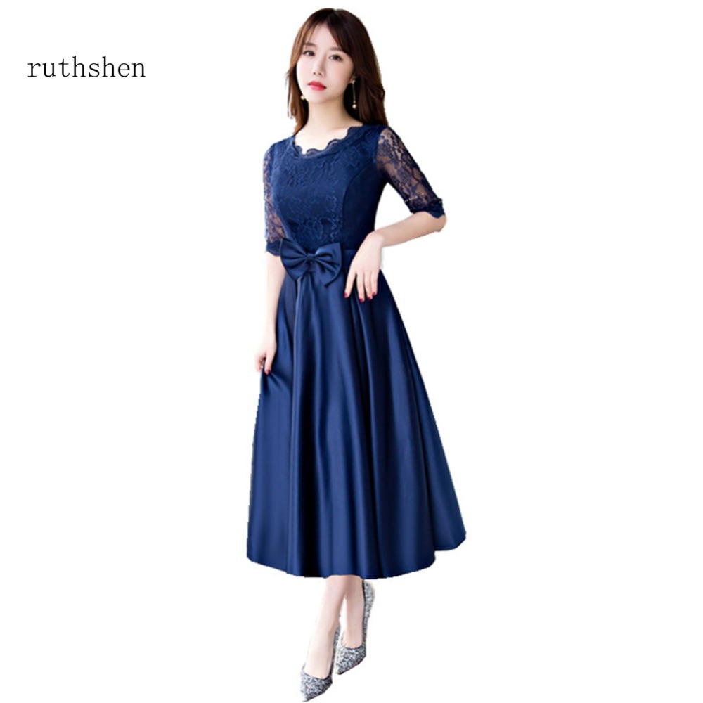 ruthshen Hot Sale 2018 Cocktail Party Dresses Half Sleeves Lace With Bow Short A Line Prom Dress Robe De Cocktail Longue 2018