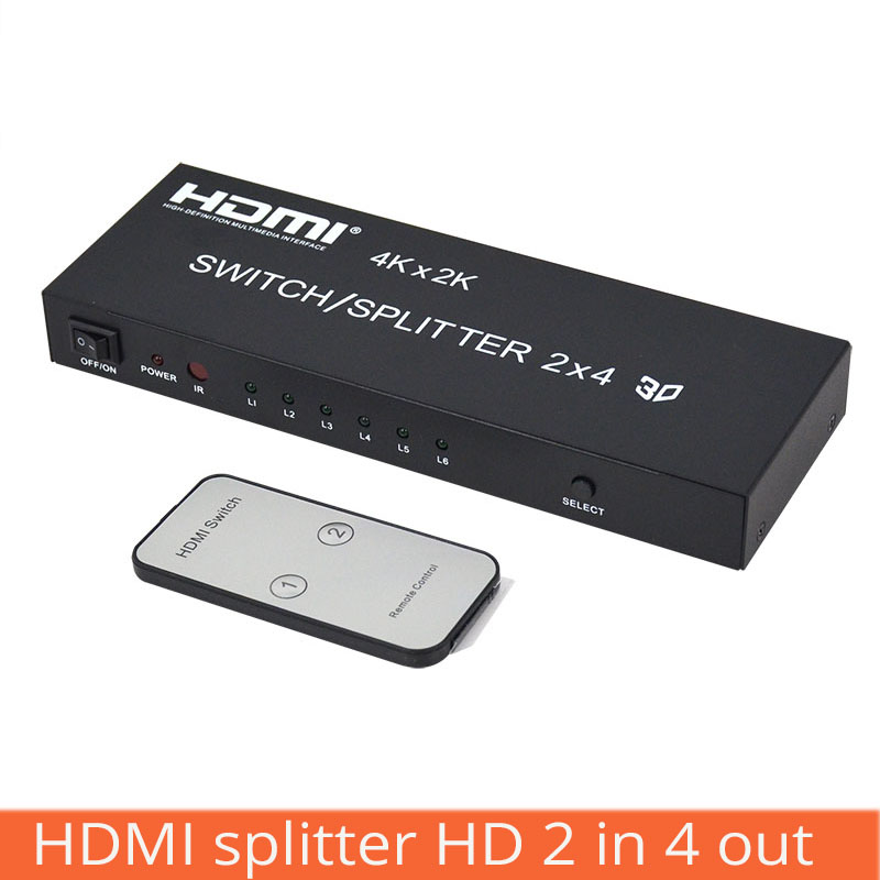 HDMI Switch HD Splitter 2 In 4 Out With 3.5MM Aux Audio/SPDIF Audio Output 2*4 With Infrared Remote Control With Power