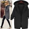 Adogirl Зимы Женщин Плюс Размер L-4XL Пальто Куртки Европейская Мода Черный Серый Плюс Толстый Бархат С Капюшоном Теплая Верхняя Одежда Пальто