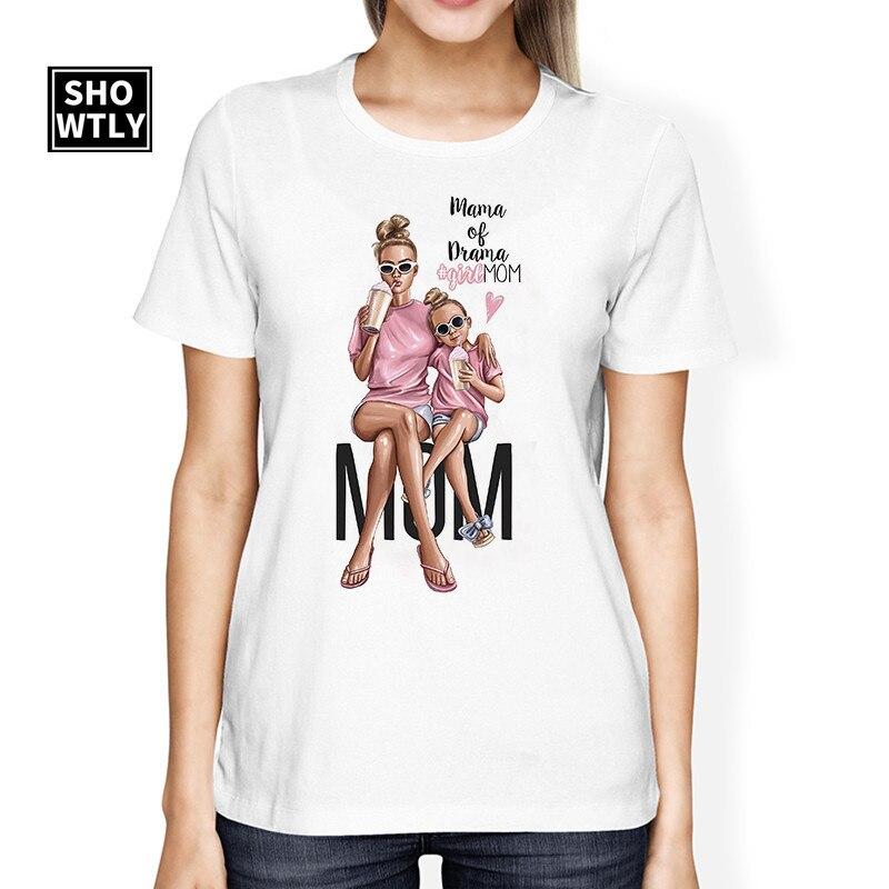 Showtly Cool Mom Daughter Print female T-shirt Harajuku kawaii Super Mom short sleeve white t-shirt for women Mom T-shirt cotton