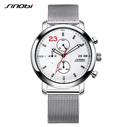 2020 Mens Watches SINOBI Brand Men's Military Sports Watch Men Stainless Steel Strap Waterproof Quartz Watch Relogio Masculino