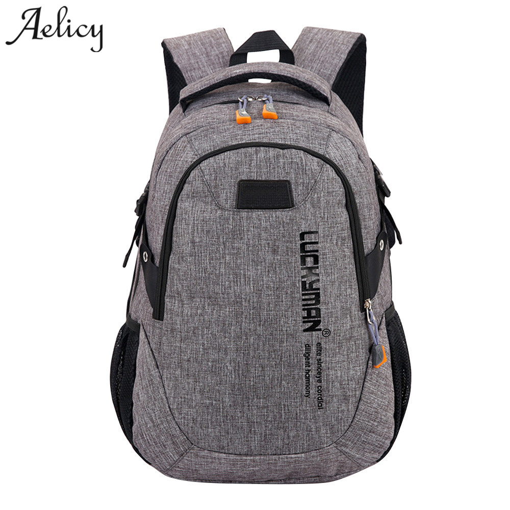 Aelicy Fashion Backpack Canvas Travel Bag Backpack Casual Waterproof Laptop Backpacks Men Women Fashion Travel Mochila Masculina baijiawei men and women laptop backpack mochila masculina 15 inch backpacks luggage