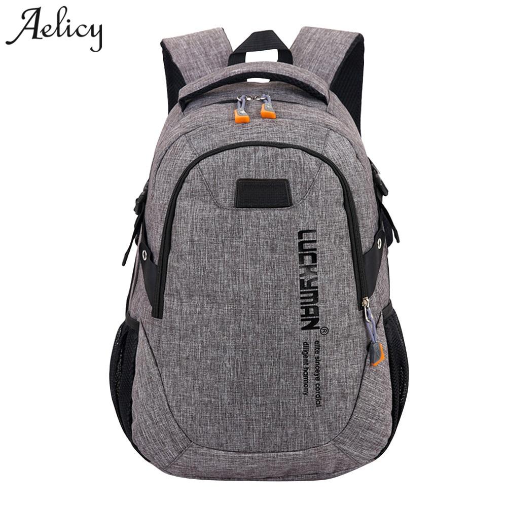 цена на Aelicy Fashion Backpack Canvas Travel Bag Backpack Casual Waterproof Laptop Backpacks Men Women Fashion Travel Mochila Masculina