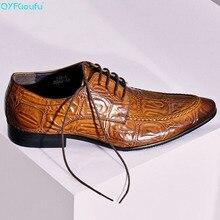 Vintage British Man Dress Shoe Genuine Leather Crocodile Pattern Oxfords Pointed Toe Lace Up Men Wedding Flats US 11.5