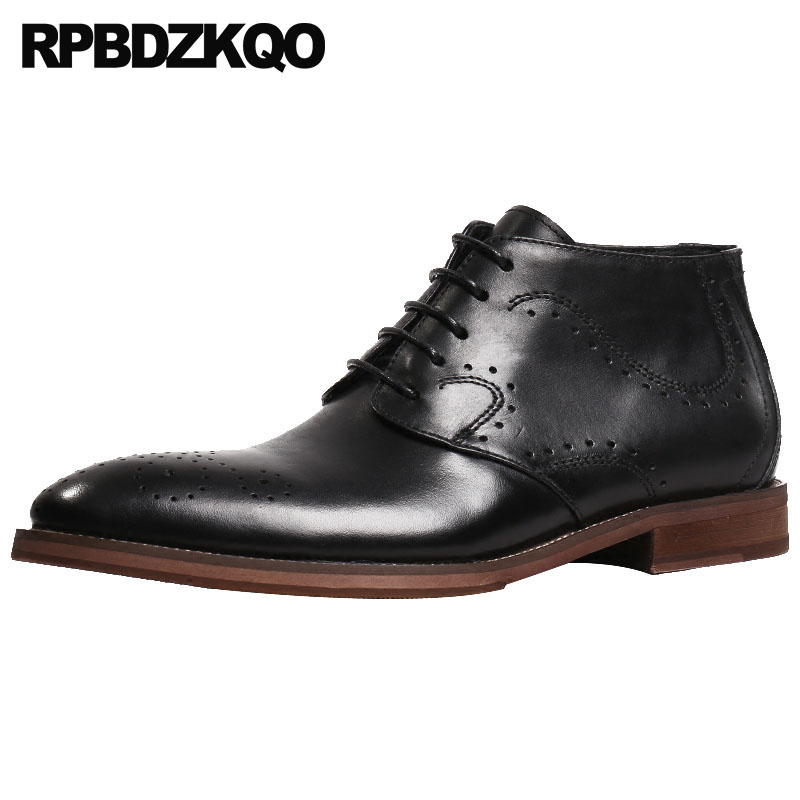 1357f9789f801 Full Grain Leather Booties Mens Pointed Toe Dress Boots Formal High Top  Handmade Black Brogue Designer Shoes Oxford Burgundy
