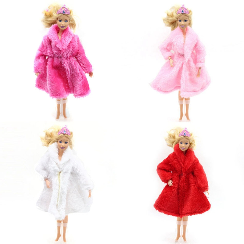 Doll Accessories Winter Wear Warm Fur Coat Dress Clothes For Dolls Fur Doll Clothing For Doll Kids Toy #3