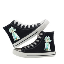 Anime Rick Morty Print Cartoon High Top Breathable Canvas Uppers Sneakers College Personalise Fashion Shoe A193141 cartoon print top