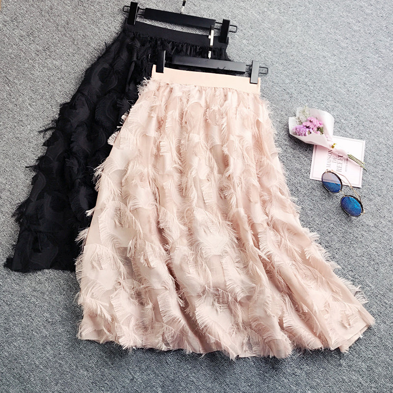 Spring 2019 Women Pleated Skirts Fashion Feather Tassel Pleated Skirts High Waisted Elastic Women Casual Party Skirt