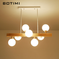 BOTIMI Wooden LED Pendant Lights For Dining Romm 7 Light Lustre with Glass Lampshade Wood Kitchen Luminaire Bar Hanging Lamp