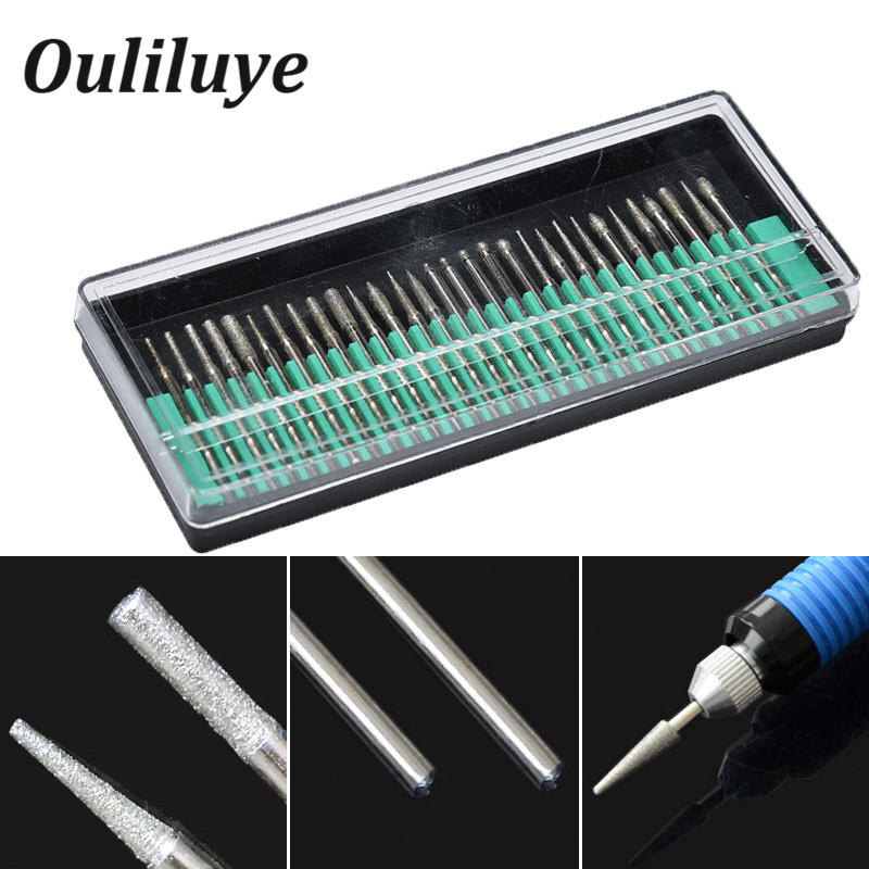 30PCS Mini Diamond Burs 2.35mm Drill Bits For Engraving Grinding Wheel Abrasive Shank Wood Stone Engraving Dremel Rotary Tools