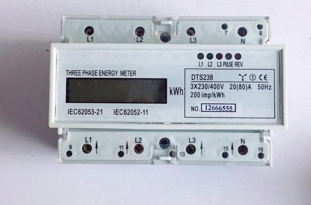 Compteur électrique triphasé à quatre fils de type guide-rail DTS238 compteur de guide micro-taille 3*230/400 V 20 (80) A 50 HZ