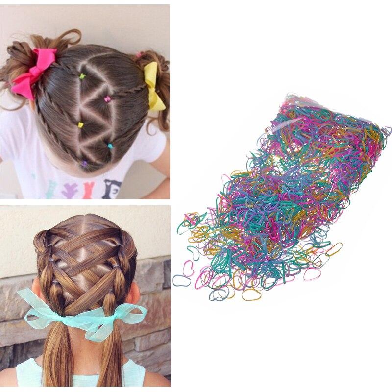 М мисм 1 пакета(ов) = 600/2000 шт. девушки ТПУ одноразовые резинки для волос хвост держатель прическа Цветные Волосы Резинки аксессуары
