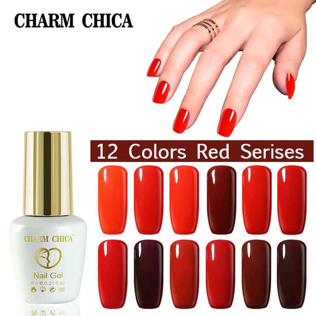 US $2.27 |Charm Chica Red 6 ml Fake Nails Decorative Nail Polish Color Red  French Vermilion Crimson Reddle Art Soak Off Gel Nail Polish-in Nail Gel ...