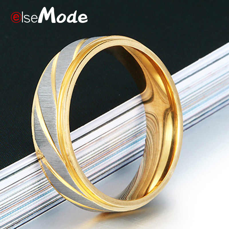 ELSEMODE 1 قطعة 316L الفولاذ المقاوم للصدأ عاشق موجة السحر خواتم 8 مللي متر عرض للرجال النساء زوجين الذهب انخفاض الشحن