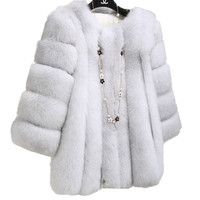 Winter Coat Complete Skin High Grade Soft Fur Fox Collars Fox Fur Coat Blazer Women All Kinds Color Womens