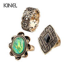 Luxury 3 Buah/Set Vintage Warna-warni Cincin untuk Wanita Warna Emas Kuno Bohemia Beach Punk Knuckle Ring Set(China)