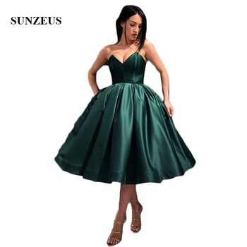 Puffy Ball Gown Little Princess Short Prom Dresses 2019 Sweetheart Emerald Green Satin Formal Dresses Girls Graduation Gown SP05