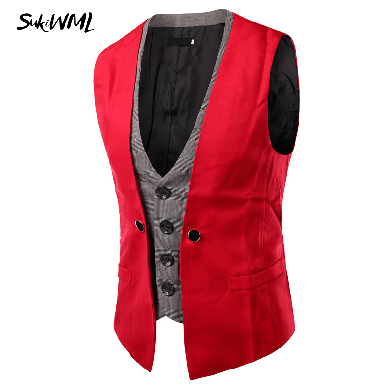 SUKIWML 2017 New Men Cest Wedding Slim Fit Faker Two Pieces Colete Social Masculino Mens Double Vest Party Gilet Costume Homme