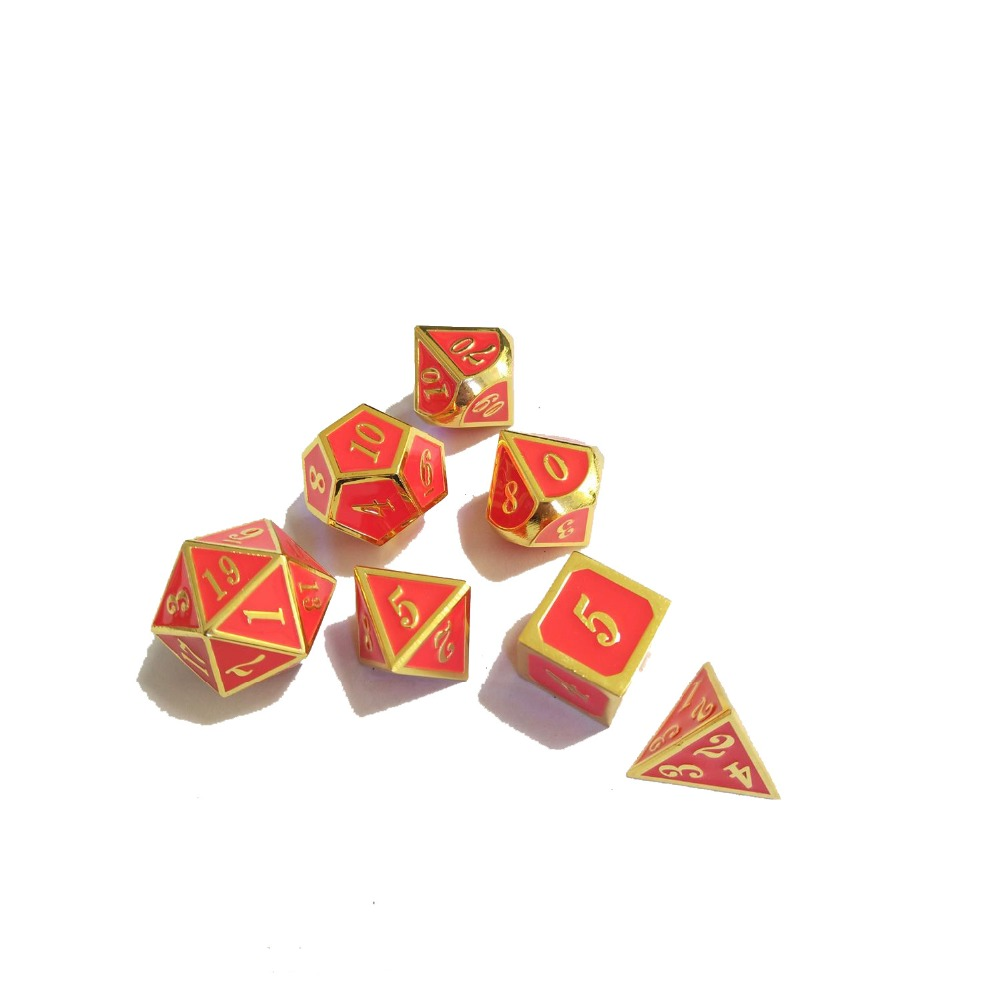 factory Outlet New font Dungeons & Dragons 7pcs/set Creative RPG Dice D&D Metal Dice Imitation gold pink enamel.