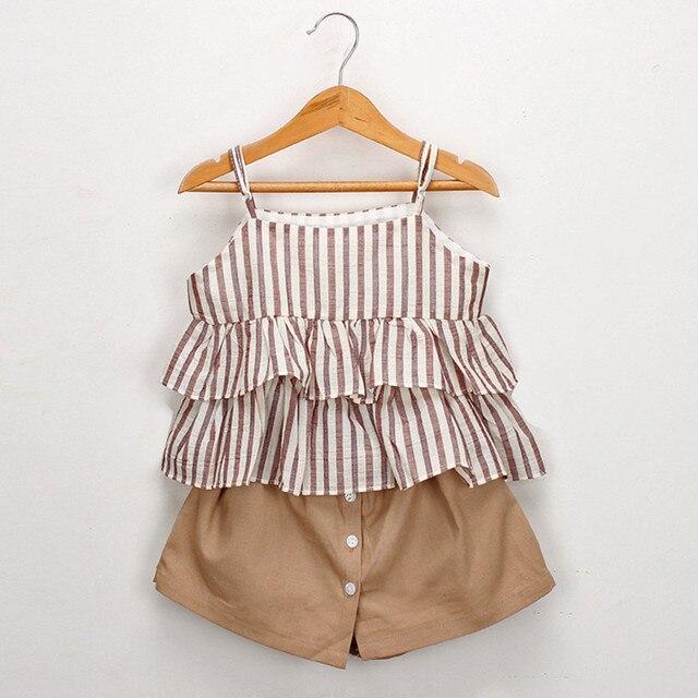 Toddler Kids Bé Cô Gái Trang Phục Quần Áo Sọc Ruffles Vest T-Áo Sơ Mi + Quần Short Đặt cô gái quần áo roupas infantis menina toddler cô gái