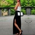Nueva Moda Europea 2016 Verano Falda de Las Mujeres Side Dividir Faldas de Cintura Elástica Mujer Solid Negro Lacio Largo Maxi Faldas de Playa
